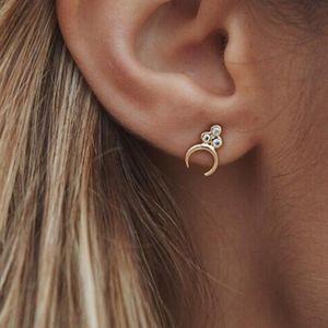 Crystal Crescent Half Moon Gold Stud Earrings Boho